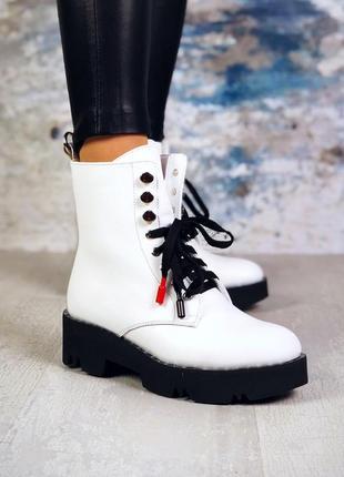 ❤ женские белые зимние кожаные ботинки сапоги полусапожки боти...