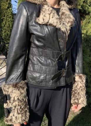 Кожаная стильная куртка,Хит Зимы - Осень,Кожанка,Мех,Стиль