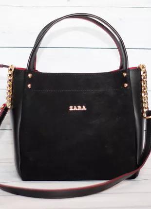 Женская замшевая сумка Zara (Зара), черная с красным