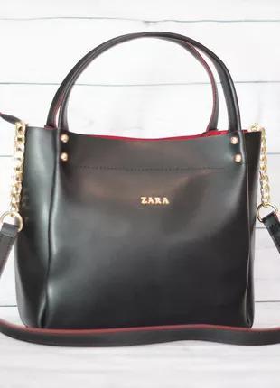 Женская сумка Zara (Зара), черная с красным