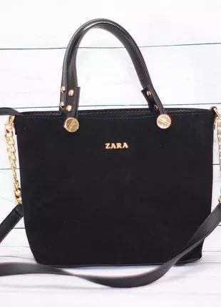 Женская замшевая сумка Zara  черный цвет