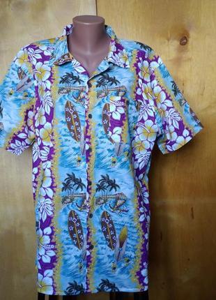 Р 16 / 50-52 яркая летняя гавайка шведка рубашка на пуговицах ...
