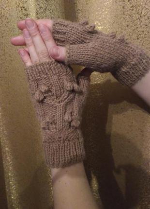 Митенки ручной работы перчатки без пальцев