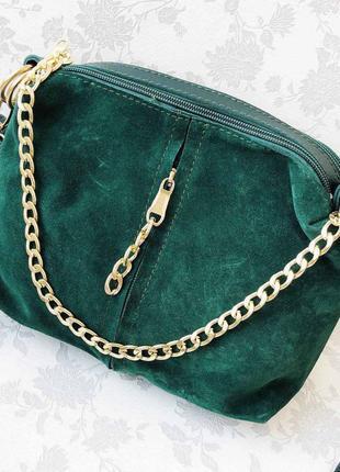 Женская замшевая сумка-клатч, зеленый цвет