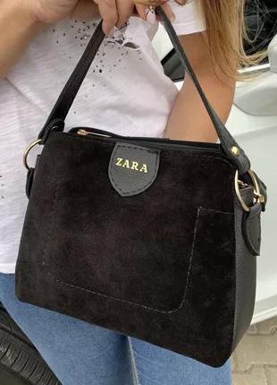 Женская замшевая сумка Zara (Зара), черная