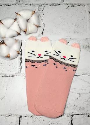 Детские носки, термо махровые, Кошка ушки, розовые