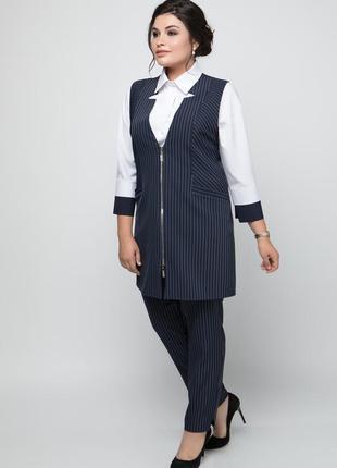 Классический женский костюм тройка: жилет, брюки, блуза,полупр...