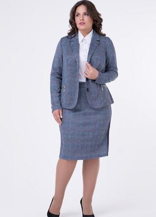 Элегантный женский юбочный костюм-двойка (пиджак+юбка) из анго...