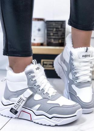 ❤ женские белые зимние кроссовки ботинки сапоги полусапожки бо...