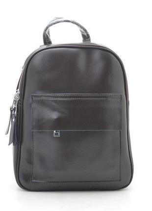 Новый женский кожаный коричневый рюкзак