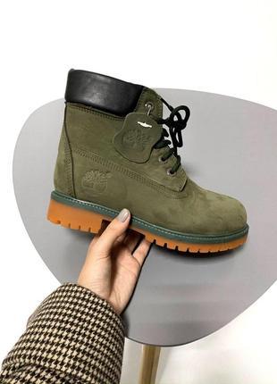 Шикарные женские зимние ботинки timberland green fur 😍 (на меху)