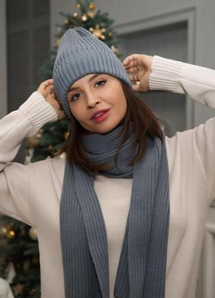 Хит базовая вязаная шапка бини резинка тыковка шарф митенки ит...