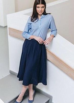Пышная юбка длиною миди из коттона