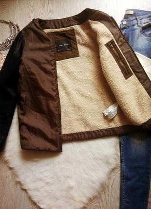 Хаки куртка ветровка поддева на белой овчине с черными кожаным...