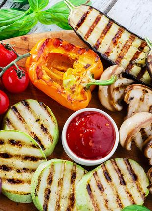 Овощи гриль (кабачки, синие, перец, помидор, грибы)