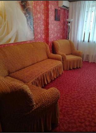 Чехол на угловой диван с креслом.