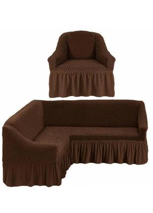 Чехол на угловой диван и кресло.