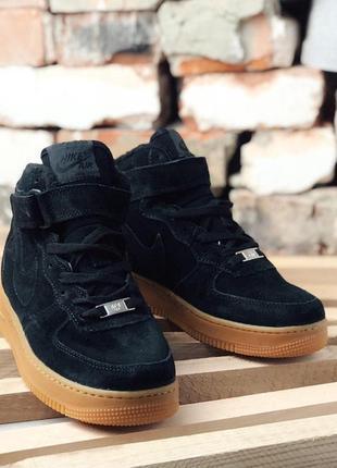 Nike air force winter black 1 high brown чёрные зимние с мехом...