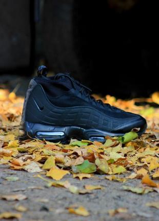 Мужские ботинки осень зима nike air max sneakerboot 95 black (...