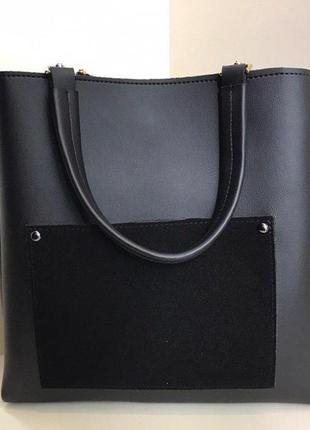 Сумка черная женская с замшевым карманом
