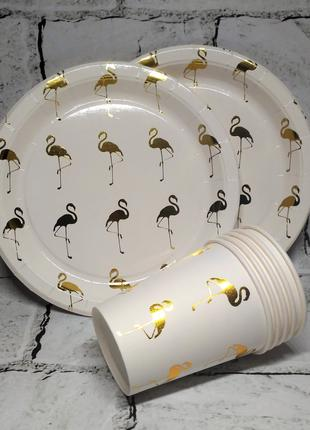 Набор одноразовой посуды для праздника на 5 персон, Фламинго Flam