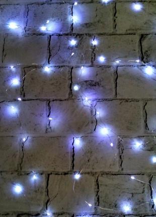 LED гирлянда, холодный свет, белая, 5 метров (на батарейках)