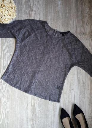 Кружевная блузка стального цвета с молнией на спине m&s р14, л...