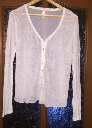 Белая лёгкая блузка кофточка из тонкой ткани