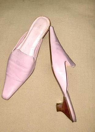❤️ летние шлёпанцы мюли босоножки на низком каблуке из натурал...