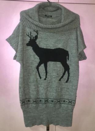 Лёгкий длинный свитер с коротким рукавом серый « amisu»