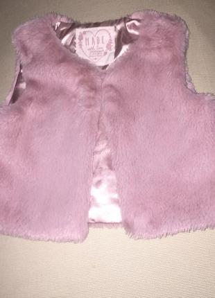 Меховая жилетка цвет пепельный розовый искусственный мех