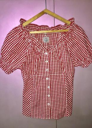 Блузка рубашка женская красная белая клеточка германия