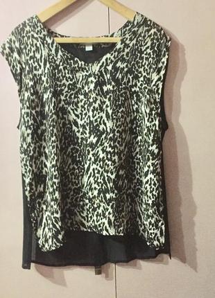 Блузка майка топ спинка чёрная прозрачная перед- леопардовый п...