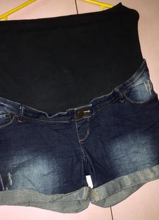 Джинсовые стрейчевые эластичные шорты для беременных