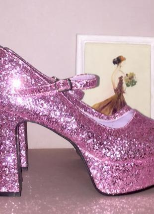 Розовые глитерные туфли на высоком каблуке и платформе « стрипы»