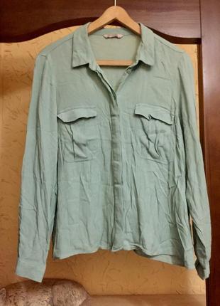 Рубашка блузка из натуральной ткани вискозы мятного цвета