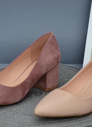 Удобные качественные туфли на каждый день на каблуке 6 см