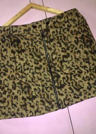 Юбка зимняя мини спереди на молнии леопардовый принт от next