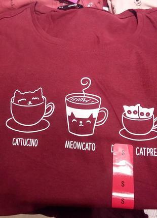 Новая длинная облегающая бордовая футболка польша принт кот ко...