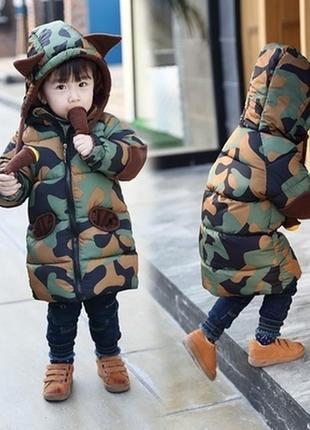 Крутая куртка-пальто камуфляж хаки