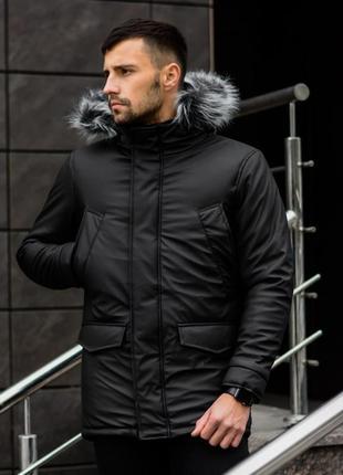 Шикарная мужская зимняя куртка удлиненная черная с капюшоном и...