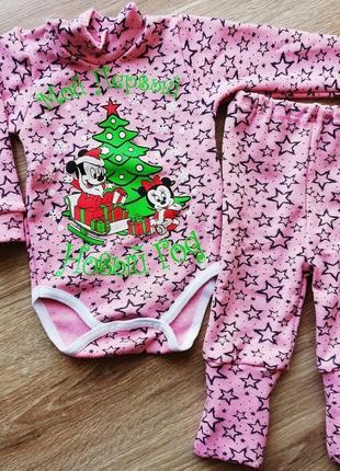 Новогодний комплект на малышку боди и штаны