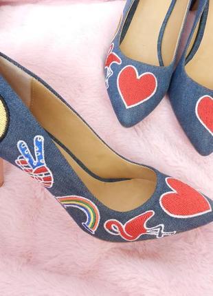 ✅джинсовые туфли с патчами и вышивкой на низком каблучке , на ...