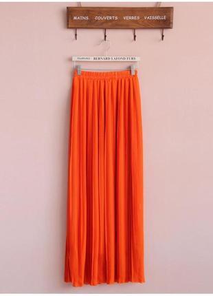 ⛔✅красивая яркая юбка кислотно оранжевая полупрозрачный шифон