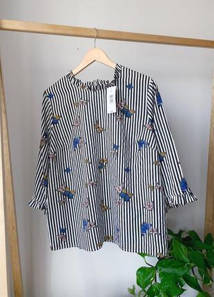 Блузка в полоску большого размера