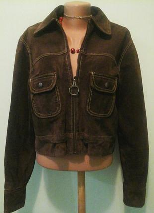 Натур.замшевая куртка пиджак, р.l