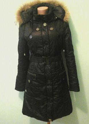 Пальто на синтепоне, длинная куртка, натур.мех