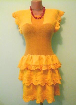 Вязанное теплое платье, нарядно, шерсть мохер