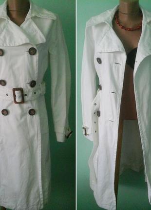 Джинсовое белое пальто, т42