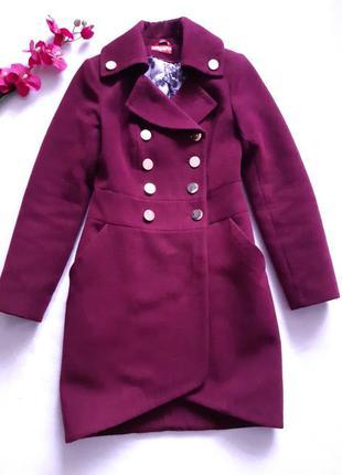 Пальто цвета марсала, утепленное